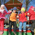 Children enjoying winter outdoors