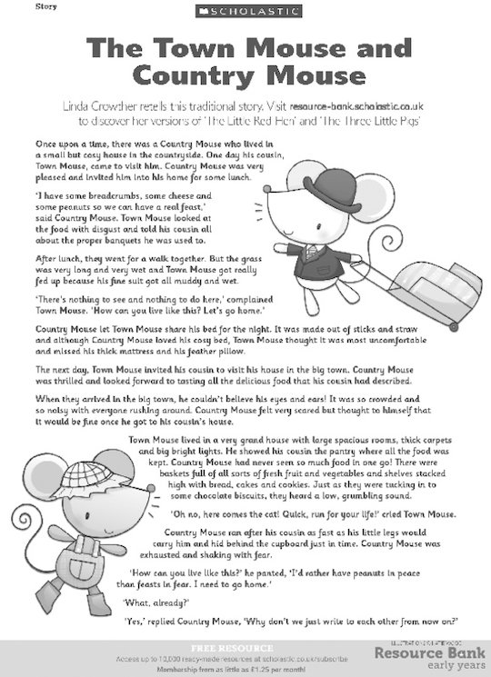 The Town Mouse and Country Mouse story