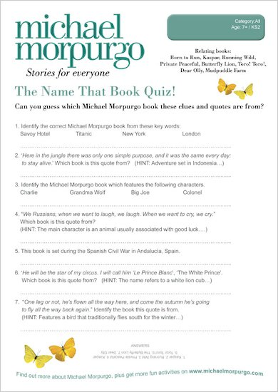 Michael Morpurgo Name That Book Quiz - Scholastic Shop