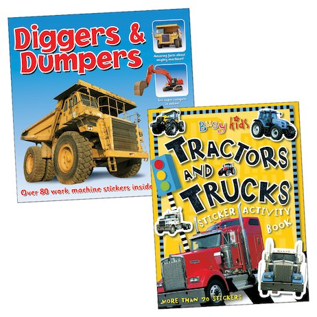 Tractors, Trucks, Diggers and Dumpers Sticker Pack