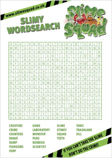 Slime Squad Wordsearch