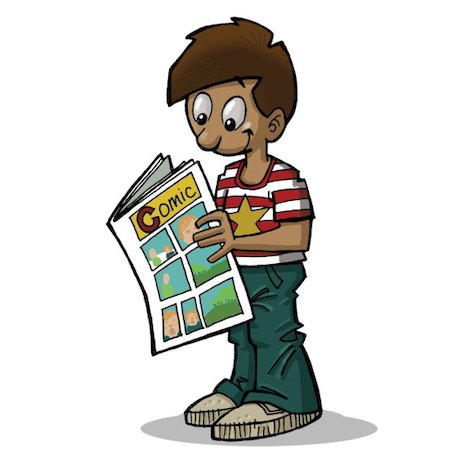 Cartoon of boy reading comic