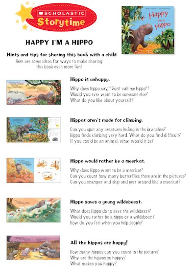 Happy I'm a Hippo Storytime Notes