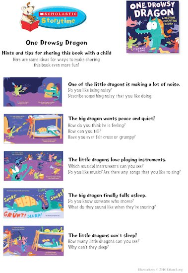 One Drowsy Dragon Storytime Notes