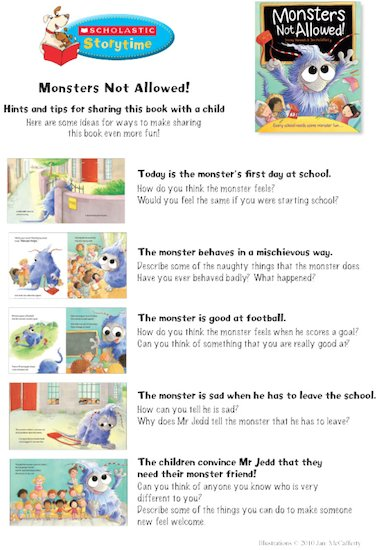 Monsters Not Allowed Storytime Notes