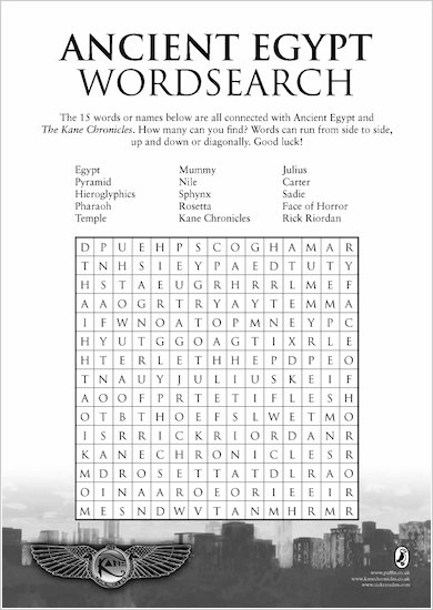 Kane Chronicles Wordsearch