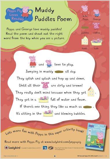 Peppa Pig Muddy Puddles Poem