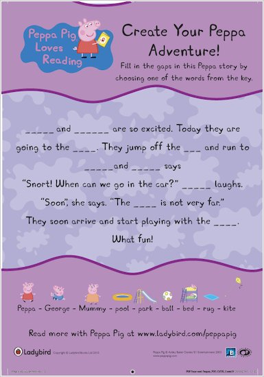 Create your own Peppa Pig adventure