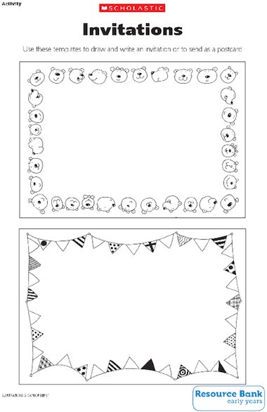 Invitation And Postcard Templates  Early Years Teaching Resource