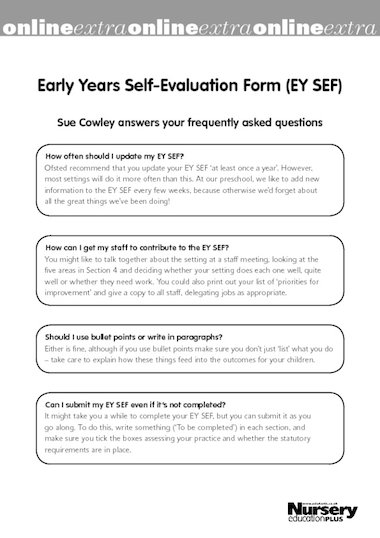 Early Years SelfEvaluation Form Faq  Free Early Years Teaching