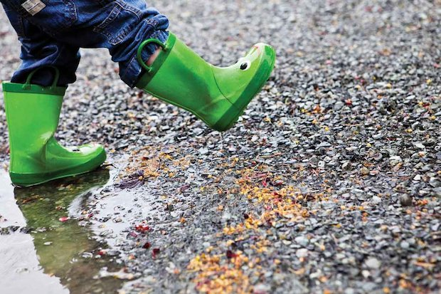 Wellies splashing in puddles