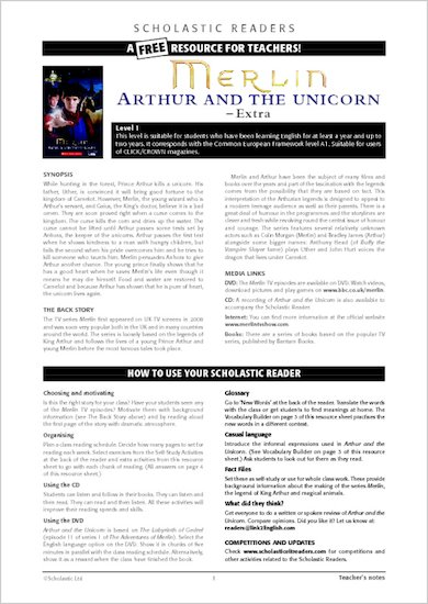 Merlin: Arthur and the Unicorn: Resource Sheet & Answers