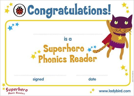 Superhero Phonics Certificate