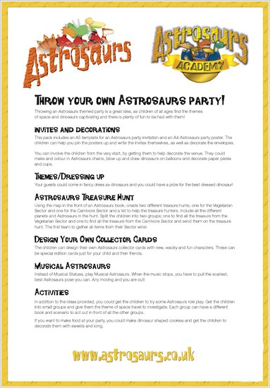 Astrosaurs Party Tips