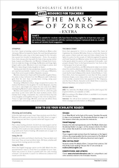 The Mask of Zorro: Resource Sheet and Answers