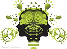 Illustrated head and cogs
