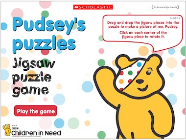 Pudsey's puzzles: Jigsaw-puzzle game – FREE Early Years
