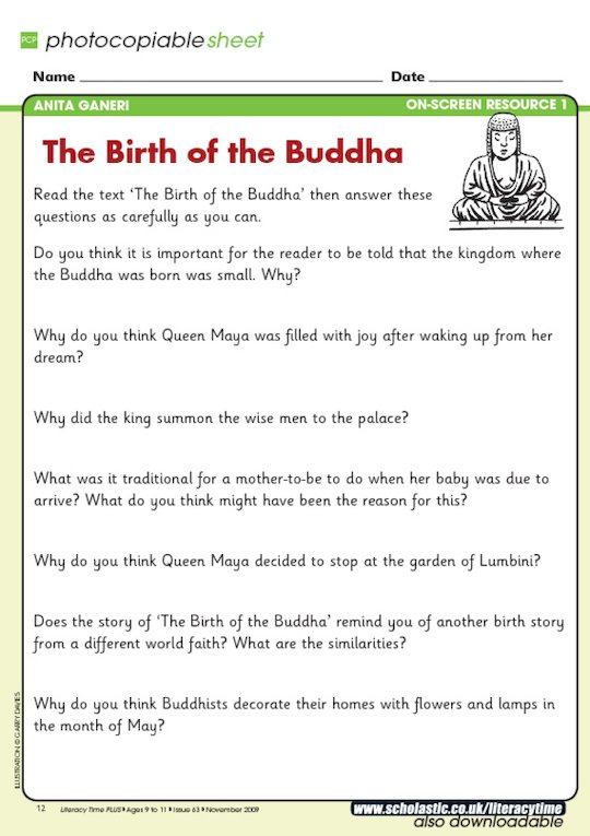 'The Birth of the Buddha' - question sheet