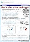 How to tell or write a good recount (1 page)