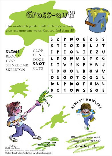 Horrid Henry Grossout Wordsearch