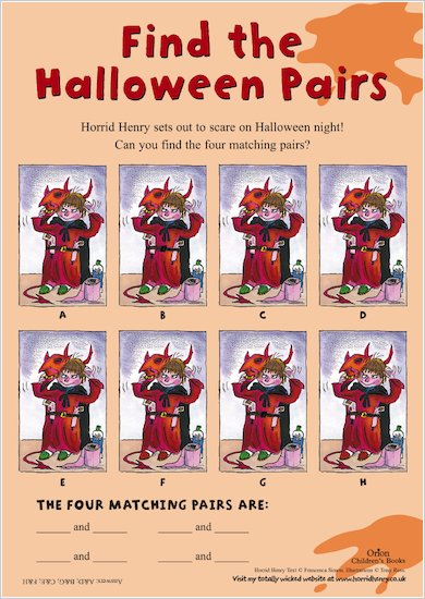Horrid Henry Halloween Pairs