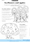 Sunflowers and apples (1 page)
