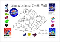 Aliens in Underpants Spaceship Colouring Activity