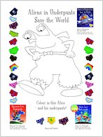 Aliens in Underpants Save the World Colouring Activity