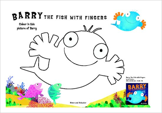 Barry the Fish with Fingers Colouring Activity