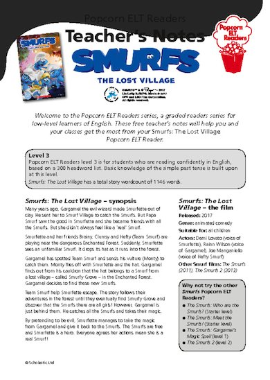 Smurfs: The Lost Village teacher's notes