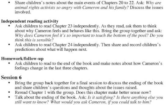 Pig Heart Boy Teacher's Notes Page 3