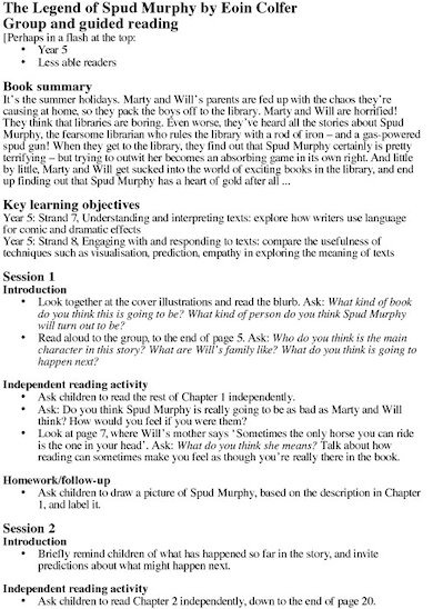 Legend of Spud Murphy Teacher's Notes Page 1