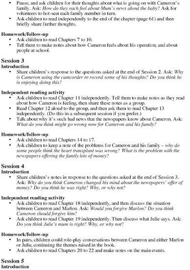 Pig Heart Boy Teacher's Notes Page 2