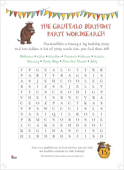 Gruffalo Birthday Wordsearch