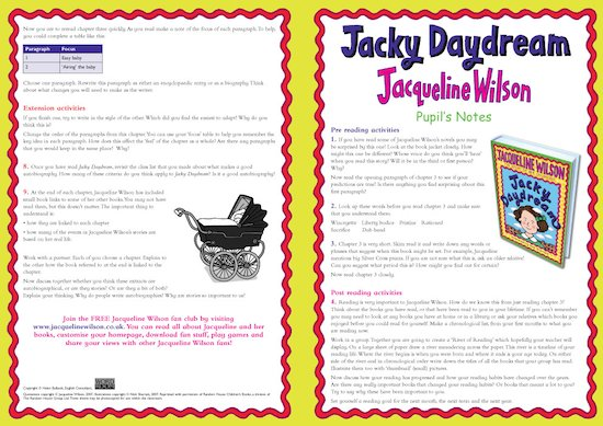Jacky Daydream Pupil Notes page 1