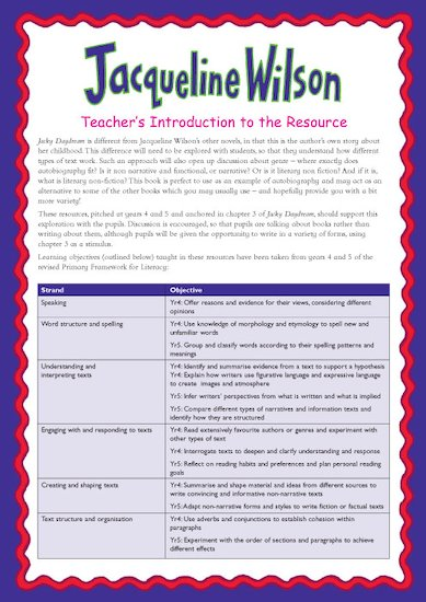 Jacky Daydream Teacher's Notes