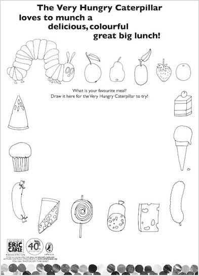 Colour the Very Hungry Caterpillar's lunch