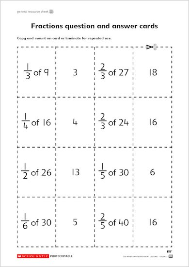 Fractions question and answer cards