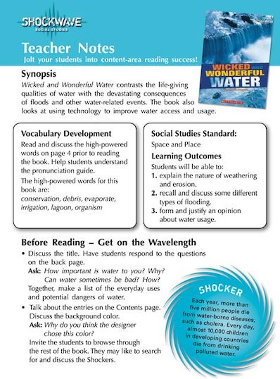 Wicked and Wonderful Water Teacher's notes and 3 fact files