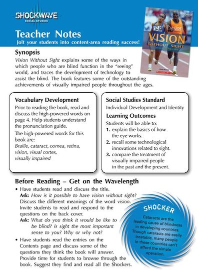 Vision without Sight Teacher's notes and 3 fact files