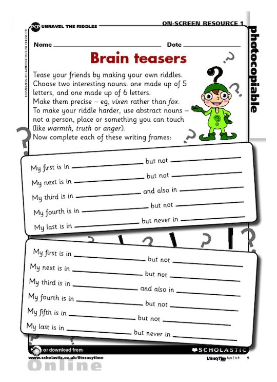 Writing brain teasers