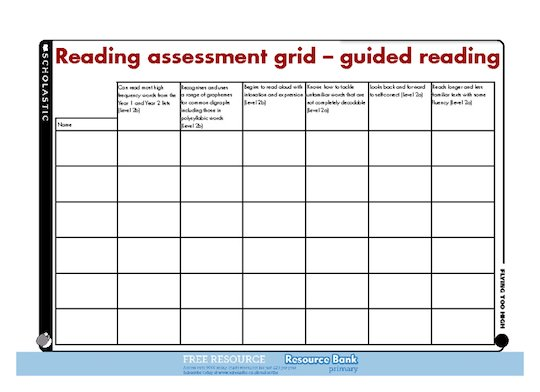 Reading assessment grid – guided reading - Scholastic Shop