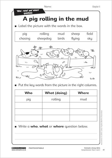 A pig rolling in the mud from Comprehension: Years 1 & 2
