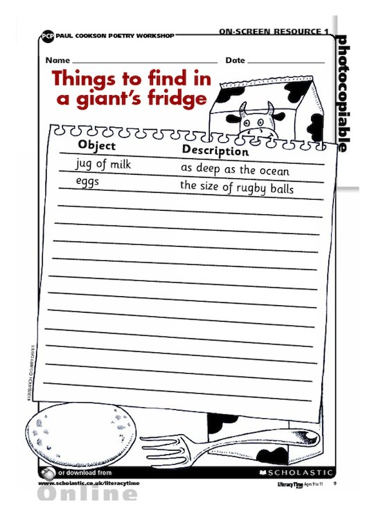 Things to find in a giant's fridge - planning a poem