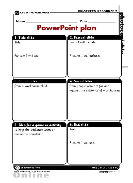 My life in the workhouse - PowerPoint plan