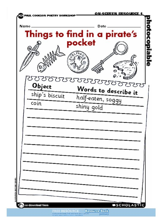 Things to find in a pirate's pocket - poem planning