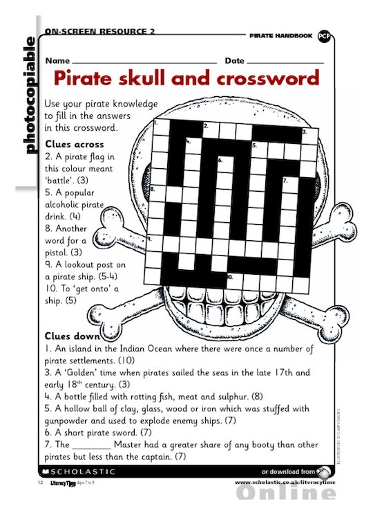 Pirate skull and crossword