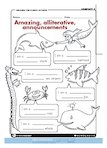 Amazing, alliterative announcements (1 page)