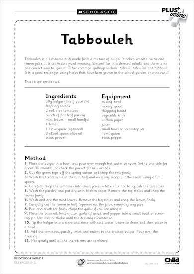 Food in Schools: recipes