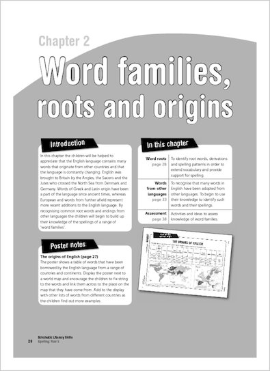 Word families, roots and origins